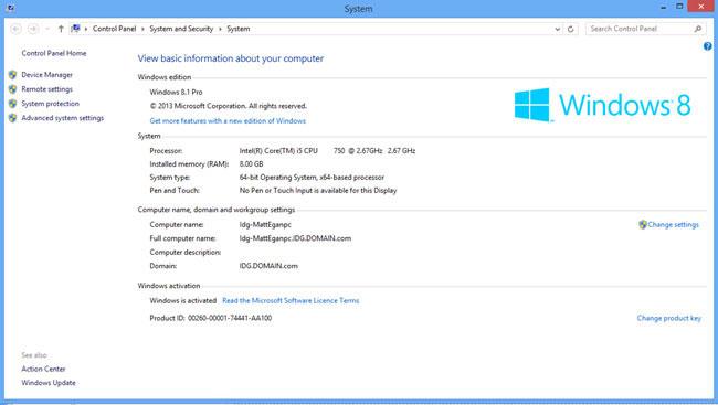 Как быстро узнать основные характеристики компьютера или ноутбука на Windows 8